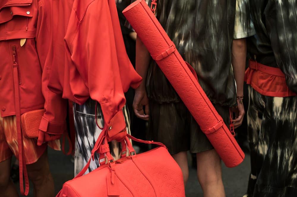 Louis Vuitton Men's Spring/Summer 2019 Show Paris Fashion Week Backstage Handbags Shirt Red