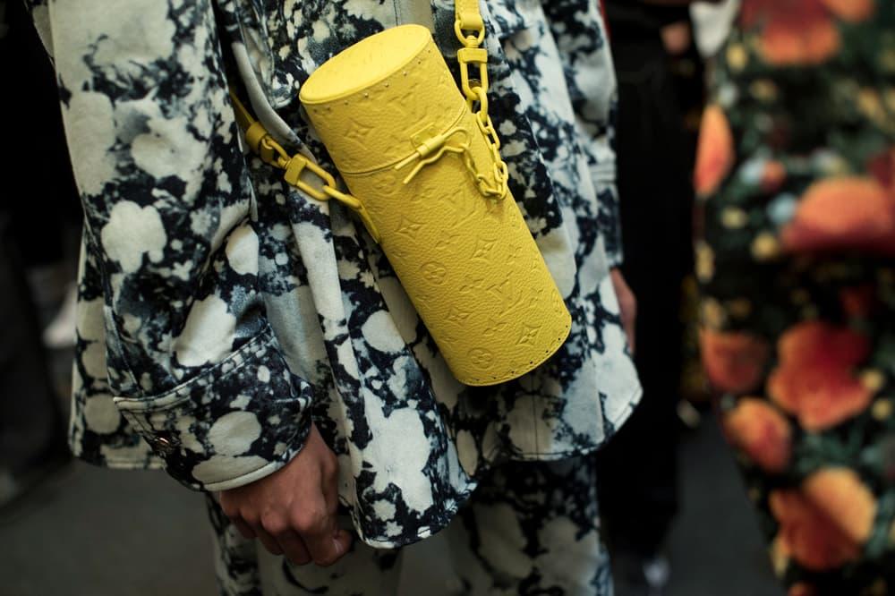 Louis Vuitton Men's Spring/Summer 2019 Show Paris Fashion Week Backstage Tie-Dye Shirt Logo Handbag Blue White Yellow