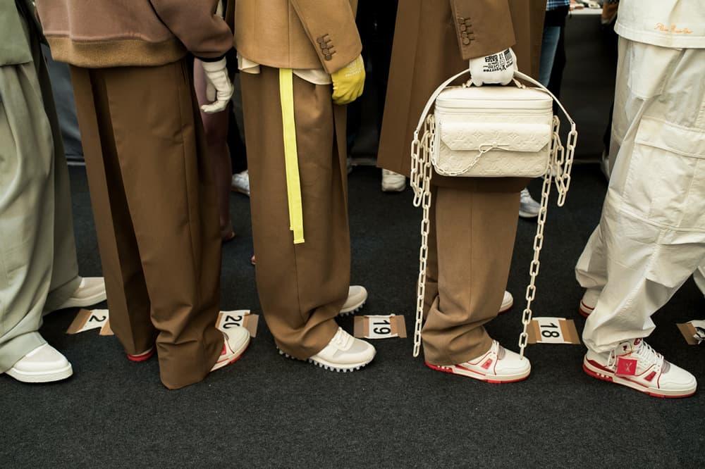 Louis Vuitton Men's Spring/Summer 2019 Show Paris Fashion Week Backstage Sneakers Pants Logo Handbag Khaki White