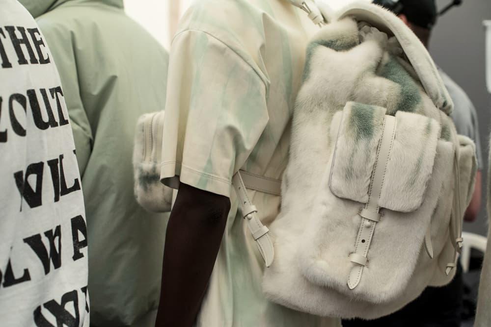 Louis Vuitton Men's Spring/Summer 2019 Show Paris Fashion Week Backstage Fur Backpack White Grey