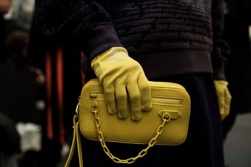 Louis Vuitton Men's Spring/Summer 2019 Show Paris Fashion Week Backstage Gloves Handbag Yellow