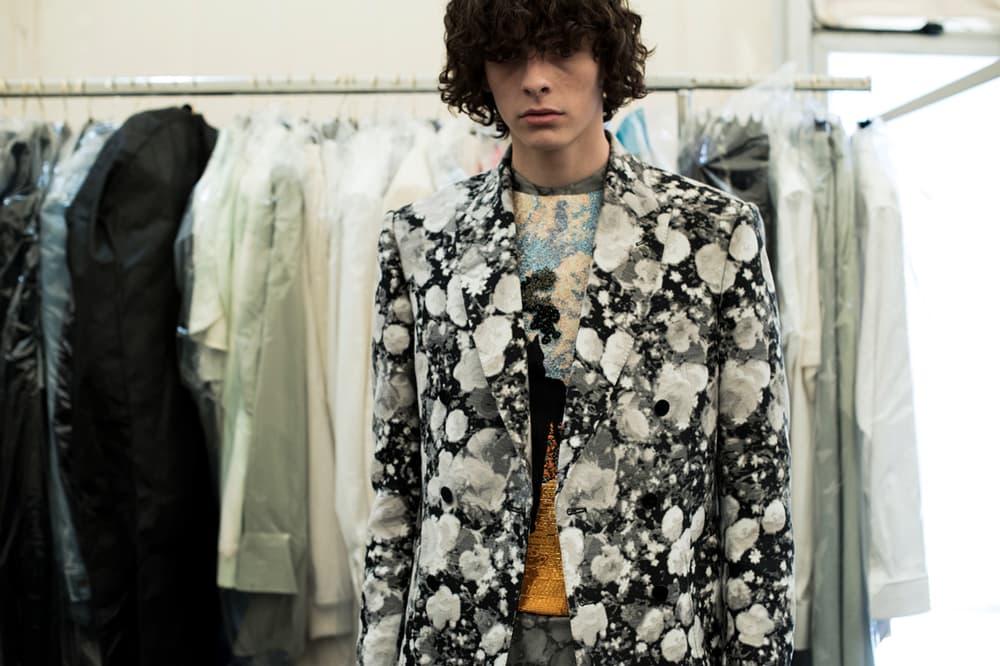 Louis Vuitton Men's Spring/Summer 2019 Show Paris Fashion Week Backstage Floral Blazer White Grey Black