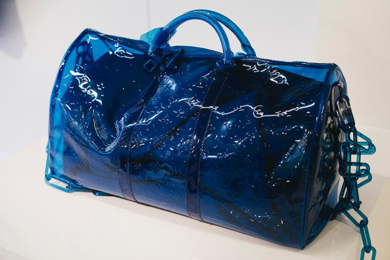 00299dba1c899 Virgil Abloh Louis Vuitton Spring Summer 2019 Transparent Keepall Bag Blue