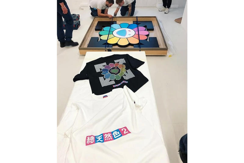 virgil abloh takashi murakami exhibition tees merch gagosian paris
