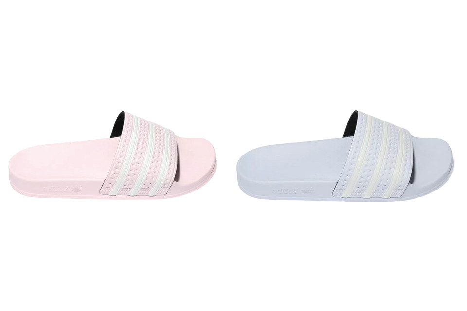 c71969f00b73 These adidas Adilette Slides in Pastel Pink and Blue Will Be Your Summer  Sweethearts