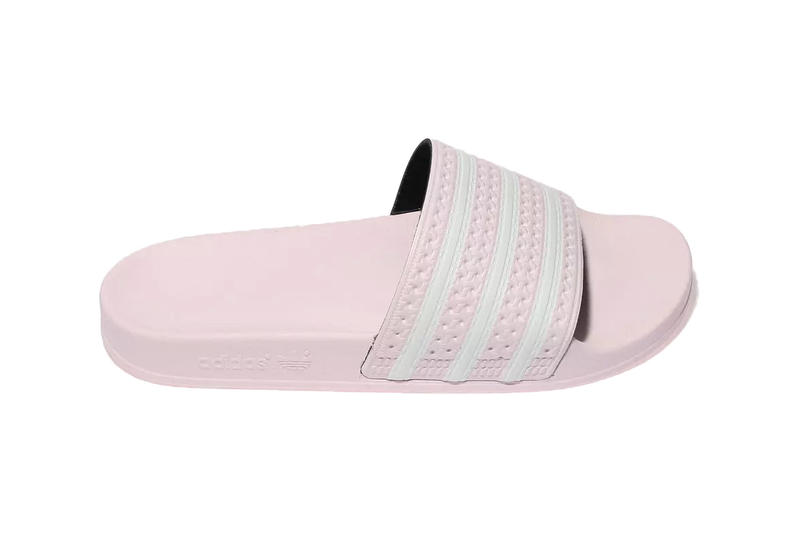 6683c730f adidas adilette slides pastel pale pink blue white stripes