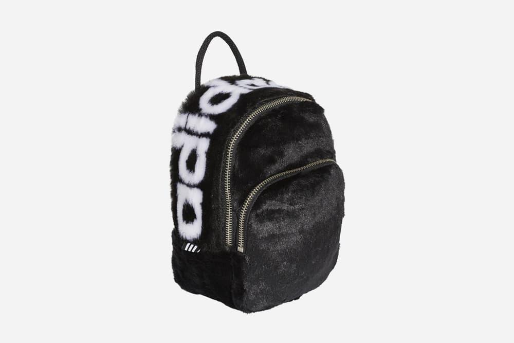 242149eca00 adidas monochromatic black white faux fur mini backpack noble green fanny  pack waist bag