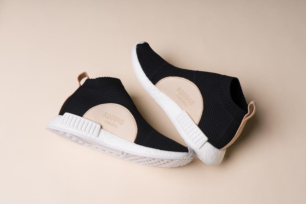 bf0f68b353101 adidas nmd cs1 core black city sock primeknit boost leather details