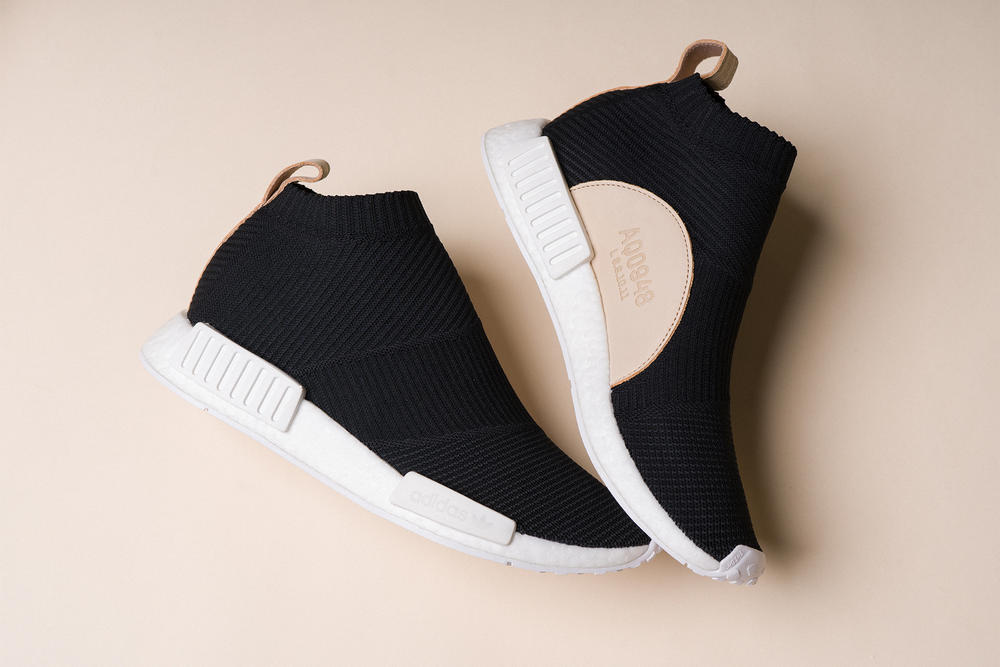 adidas nmd cs1 core black city sock primeknit boost leather details