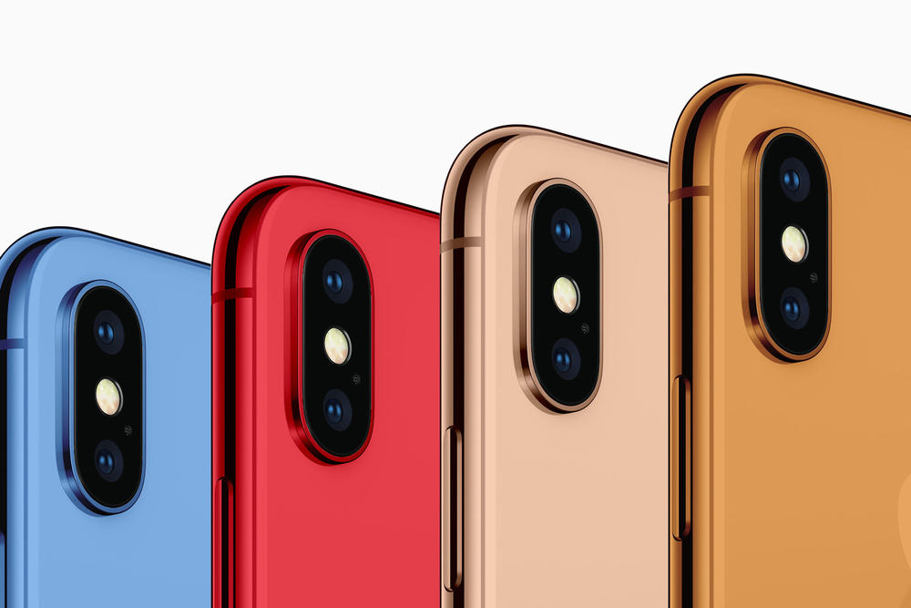 Apple iPhone 2018 Colors Blue Orange Gold Red Concept Image Rendering 6.5-inch OLED 6.1-inch LED