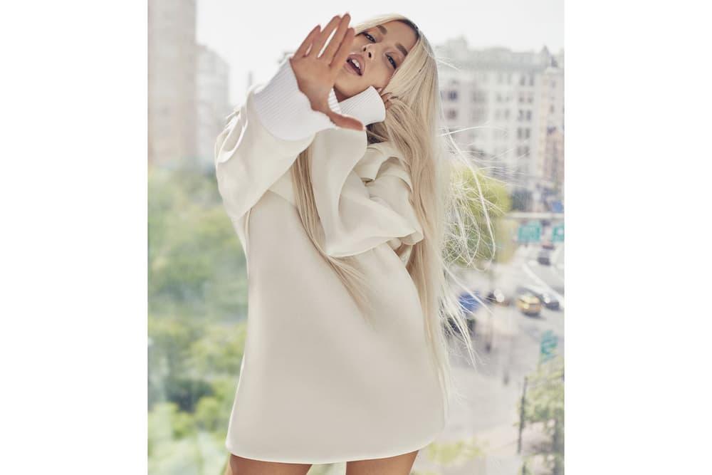 Ariana Grande ELLE August 2018 Issue Silk Dress Louis Vuitton Cream