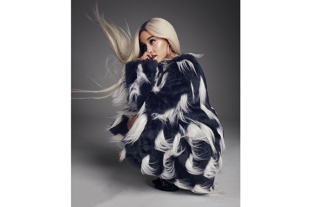 Ariana Grande ELLE August 2018 Issue Faux Fur Coat Givenchy Black White