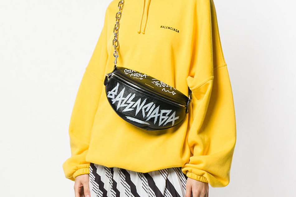 cea0ff9e Balenciaga's Souvenir Graffiti Belt Bag in Black | HYPEBAE