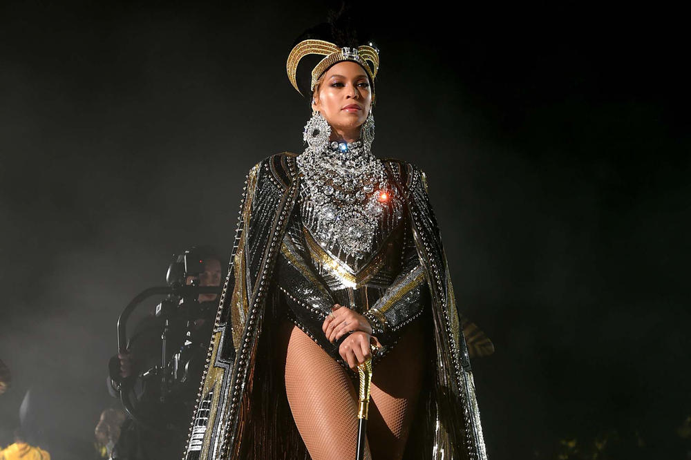 Beyonce Coachella Weekend 1 Bodysuit Crown Cloak Black Silver Gold