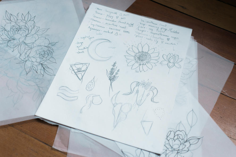 Tattoo Artist Female Vancouver Floral Vanessa Dong Drawings Drafts