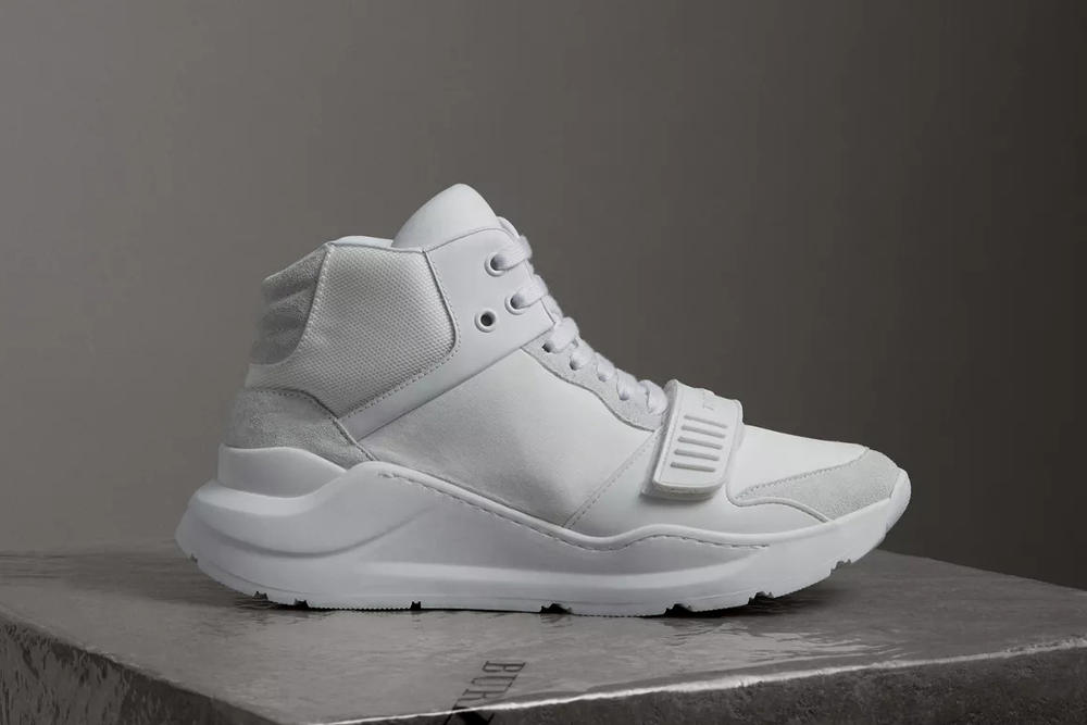 Burberry Suede Neoprene High-Top Optic White