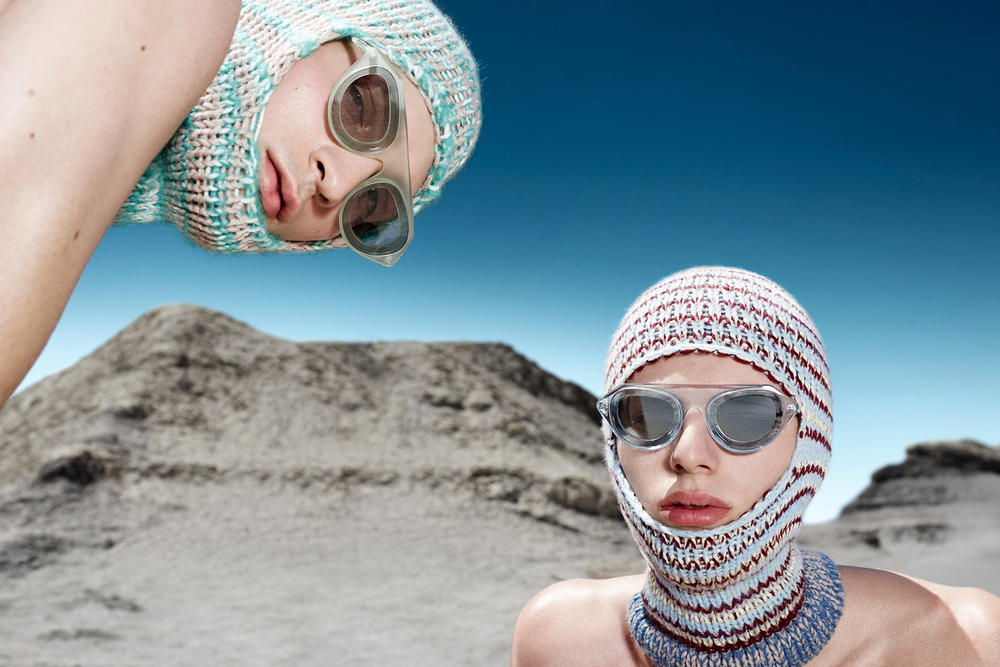 CALVIN KLEIN 205W39NYC Fall 2018 Campaign Knit Masks Blue White Oversized Sunglasses Green Grey
