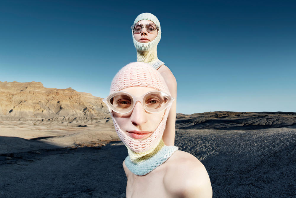 CALVIN KLEIN 205W39NYC Fall 2018 Campaign Knit Masks Pink Blue Oversized Sunglasses Clear