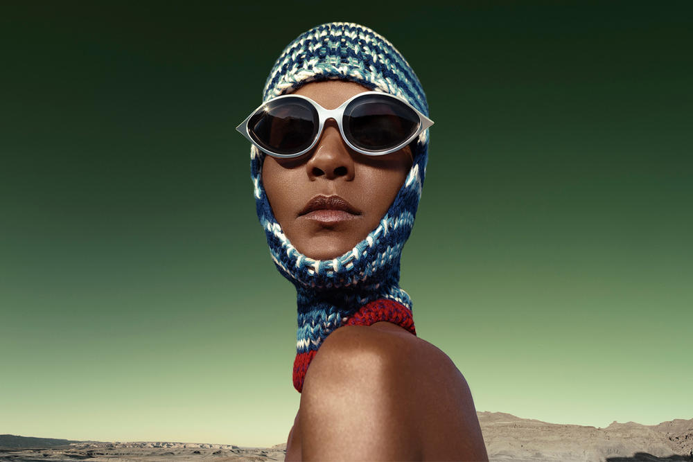 CALVIN KLEIN 205W39NYC Fall 2018 Campaign Knit Mask Blue Oversized Sunglasses Silver