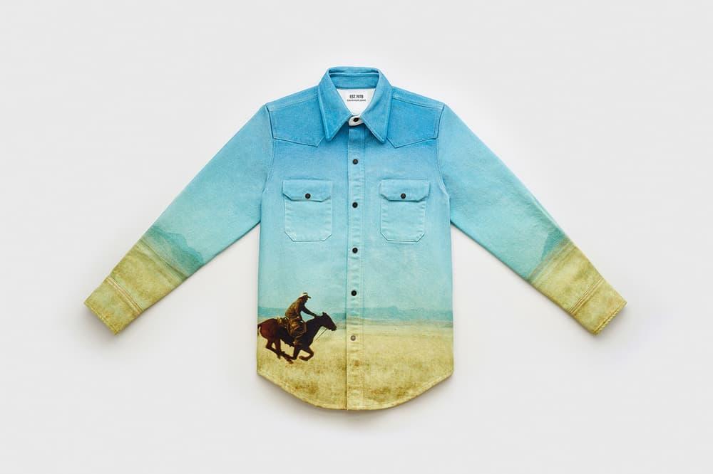 CALVIN KLEIN EST. 1978 Collection Collared Shirt Blue Green
