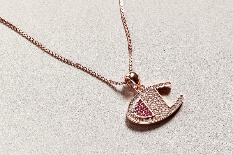 Rose Gold Champion Logo Necklace Crystals