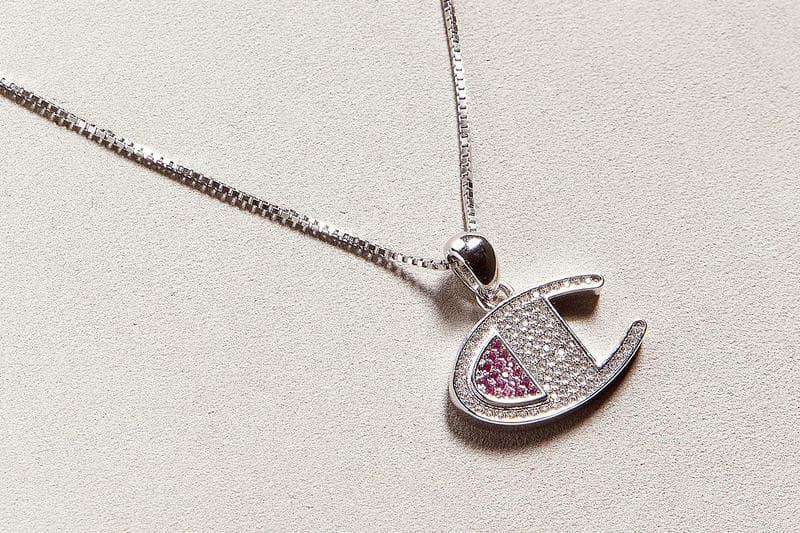 Silver Champion Logo Necklace Crystals