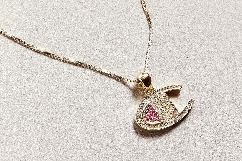Gold Champion Logo Necklace Crystals