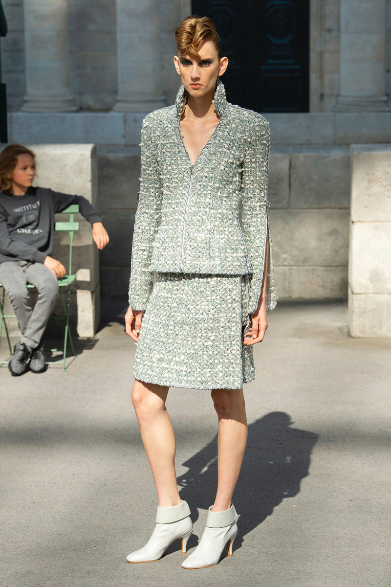 Chanel Fall 2018 Couture Show Collection Blazer Skirt Light Blue White