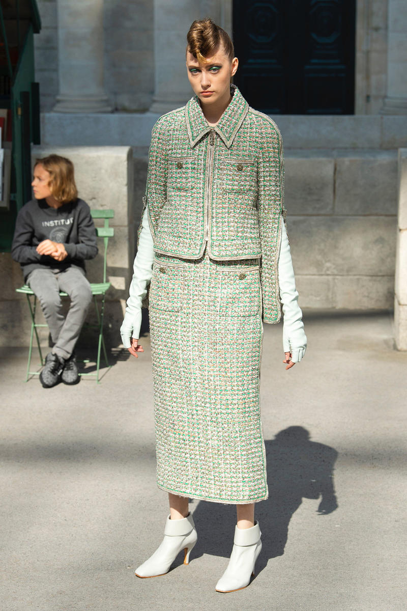 Chanel Fall 2018 Couture Show Collection Jacket Skirt Mint Green Boots White