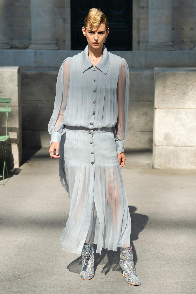 Chanel Fall 2018 Couture Show Collection Top Skirt Light Blue Boots Grey