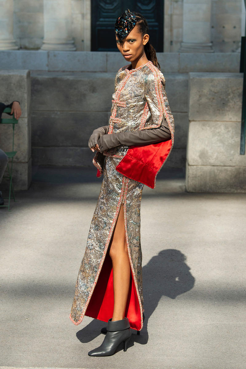 Chanel Fall 2018 Couture Show Collection Jacket Skirt Gold Red Boots Black