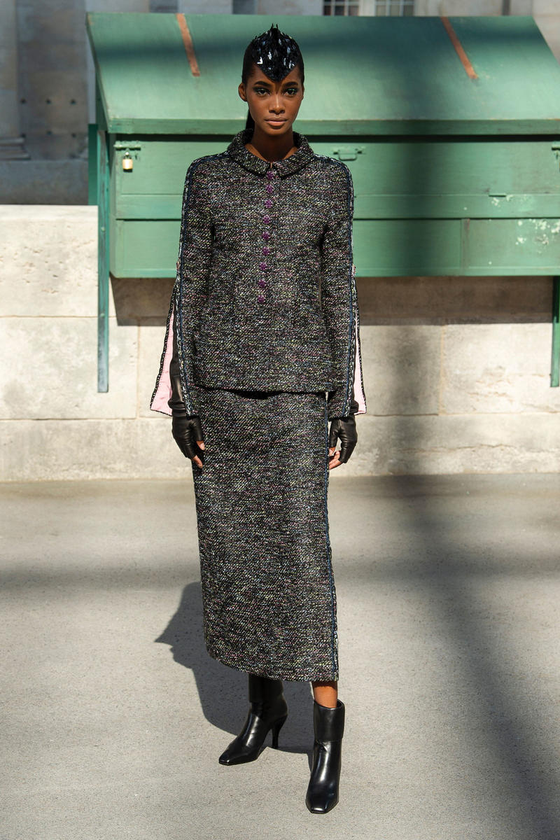 Chanel Fall 2018 Couture Show Collection Blazer Skirt Dark Grey