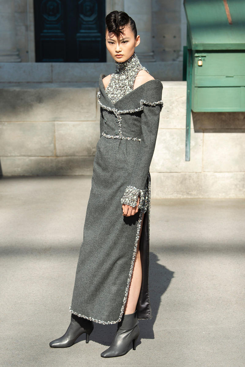 Chanel Fall 2018 Couture Show Collection Long Dress Boots Grey
