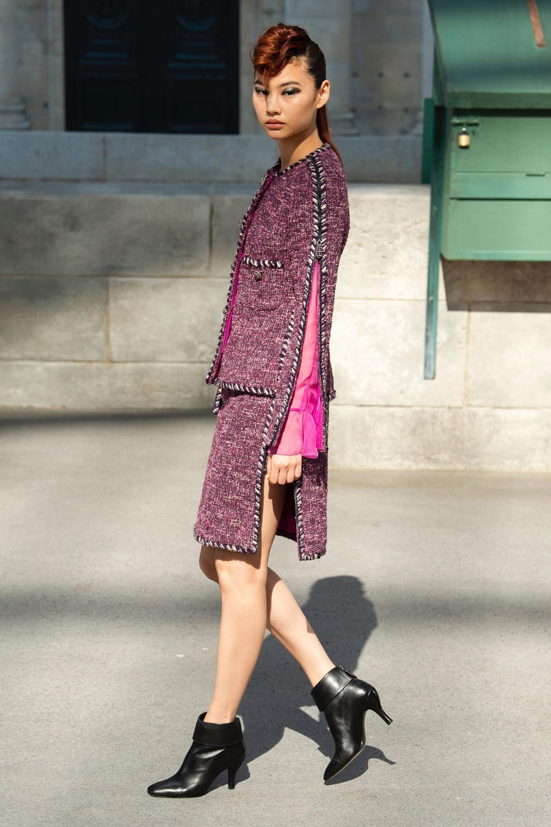Chanel Fall 2018 Couture Show Collection Jacket Skirt Hat Magenta Boots Black