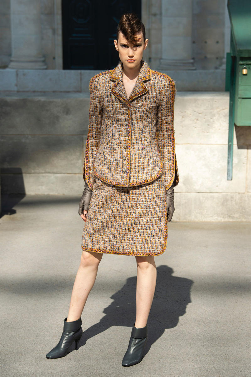 Chanel Fall 2018 Couture Show Collection Blazer Skirt Orange Brown Boots Black