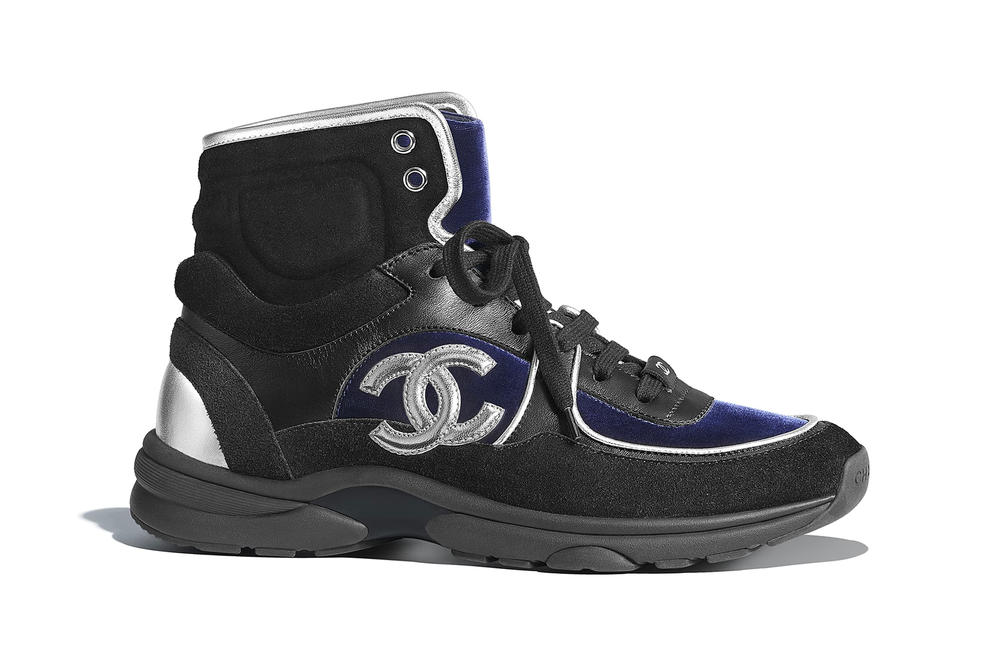 chanel metiers d'art sneaker logo high-top calfskin velvet black navy blue white