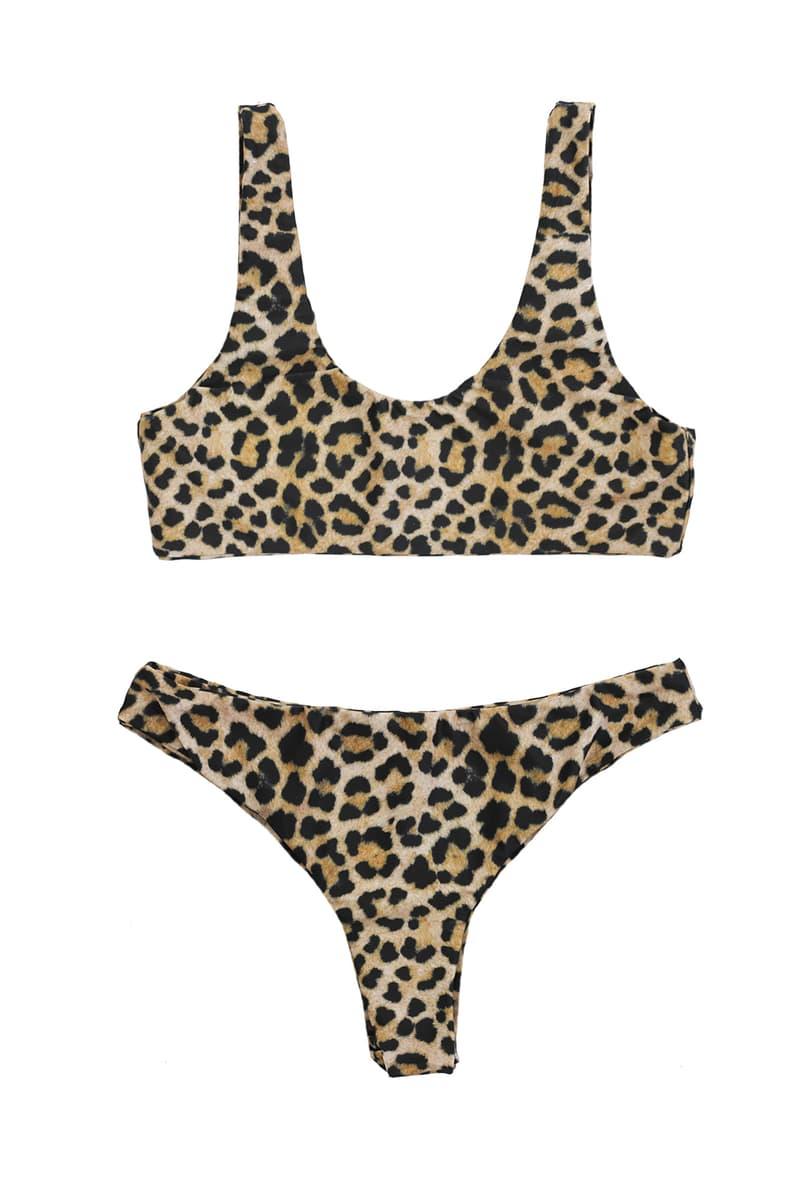 danielle guizio lure glitter bikini swimwear leopard print