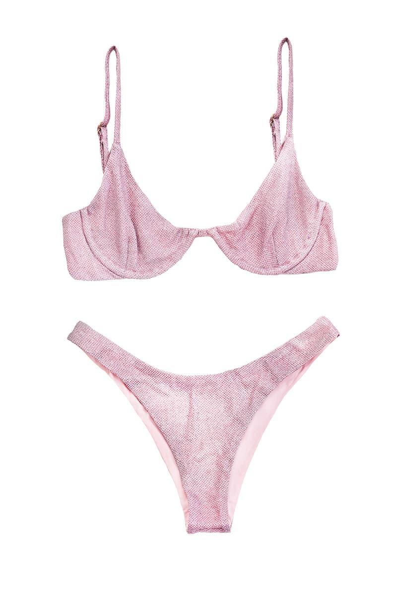 danielle guizio lure glitter bikini swimwear pink
