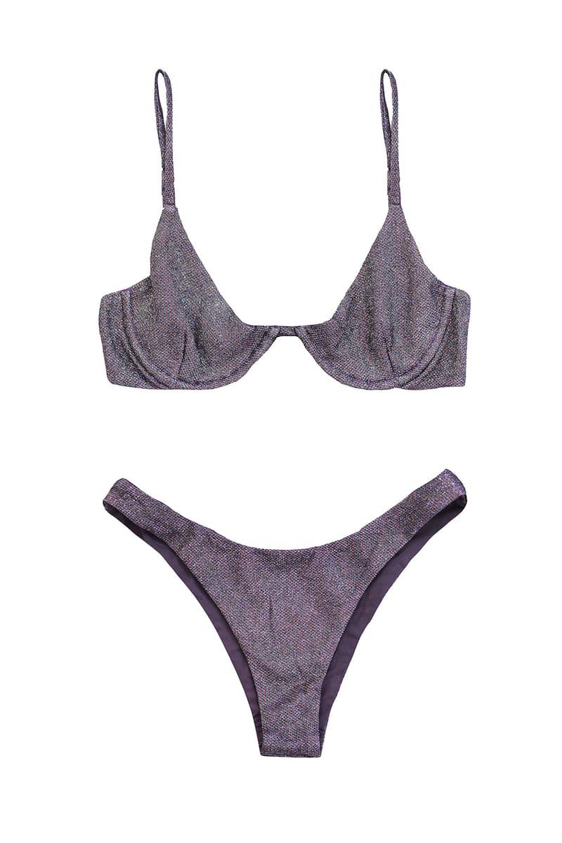 danielle guizio lure glitter bikini swimwear purple