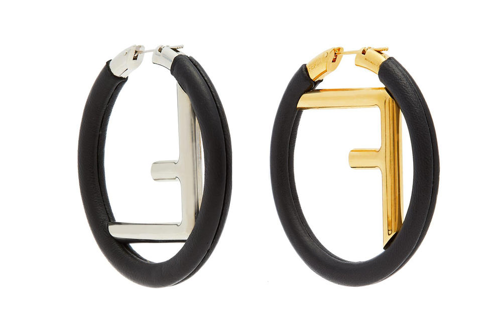 Fendi Logo Leather Hoop Earrings Black