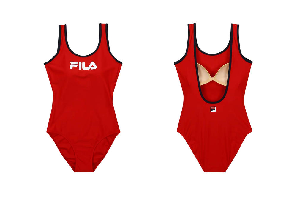 FILA Korea Logo Swimsuit Red