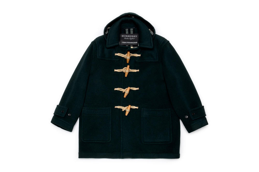 gosha rubchinskiy fall winter 2018 burberry collaboration jacket black