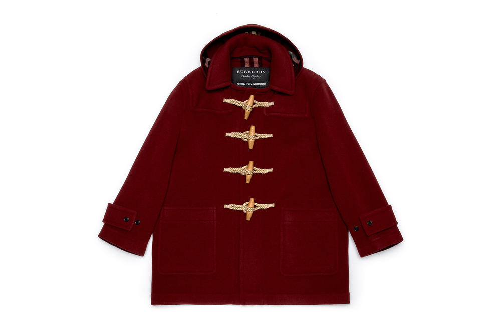 gosha rubchinskiy fall winter 2018 burberry collaboration jacket red burgundy