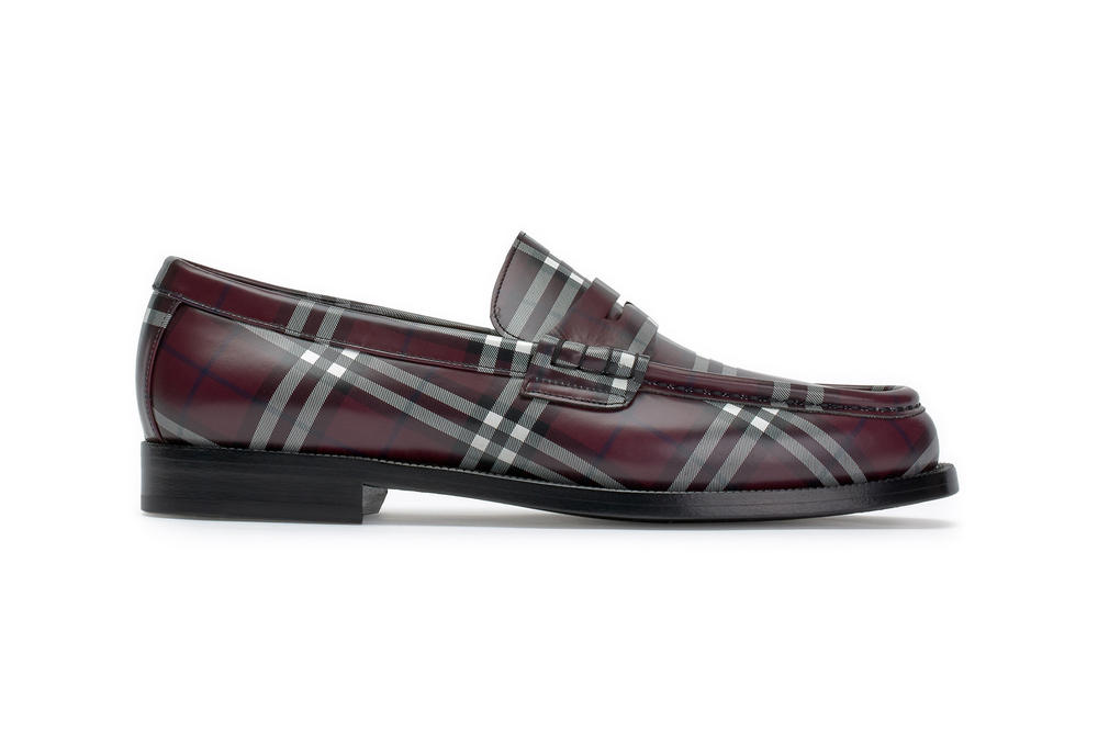 gosha rubchinskiy fall winter 2018 burberry check plaid loafer shoes