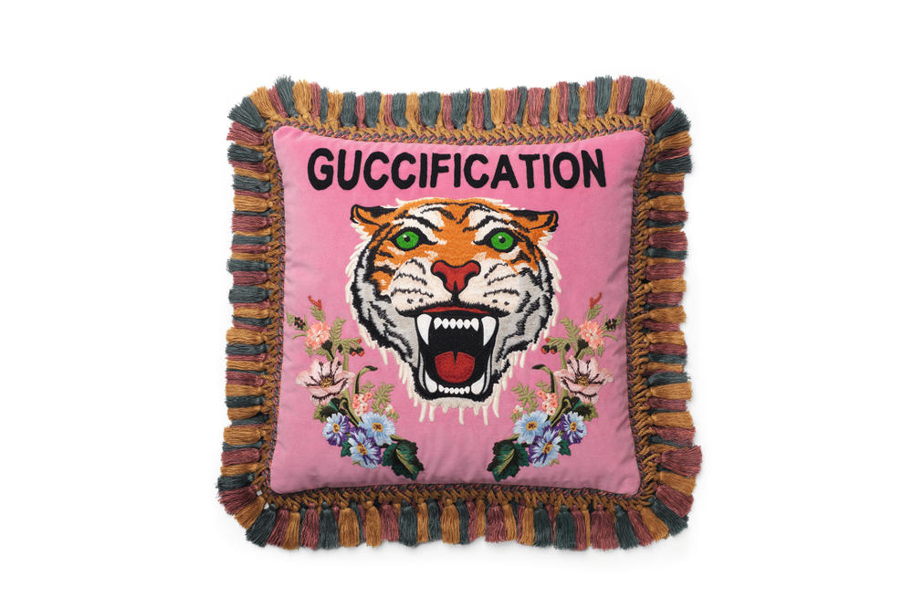 Gucci Decor Collection Candles Chair Stool Pillow Monogram Plates Porcelain Cups Alessandro Michele