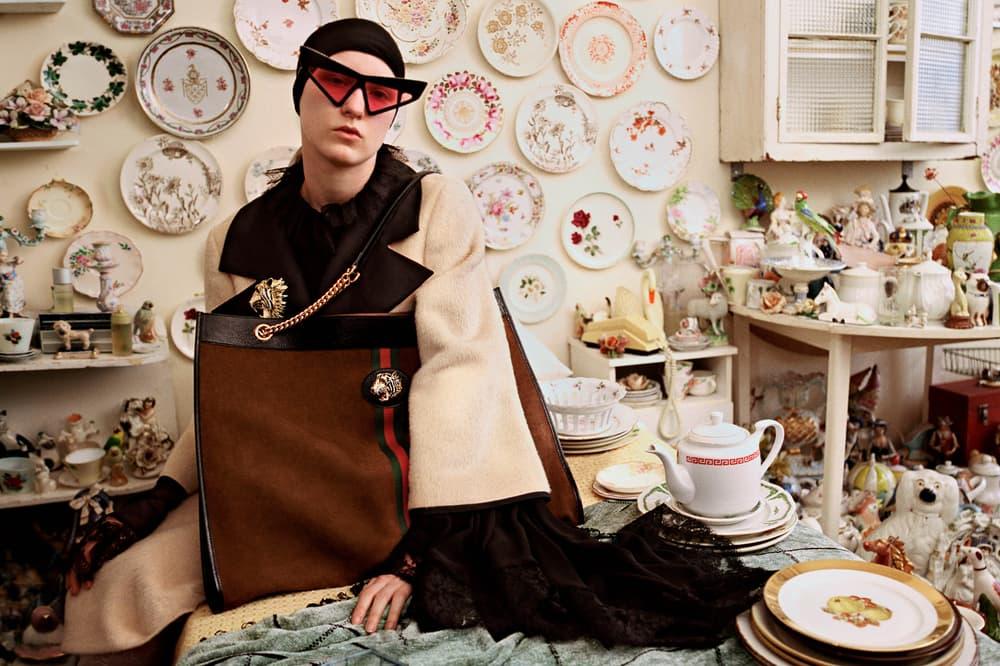 Gucci Fall/Winter 2018 Collectors Campaign Coat Tan Black Oversized Handbag Brown Sunglasses Pink