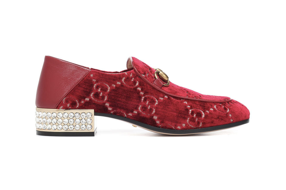 ca832406ca5 Gucci Red Velvet GG Logo Loafers Crystal Embellished Heel