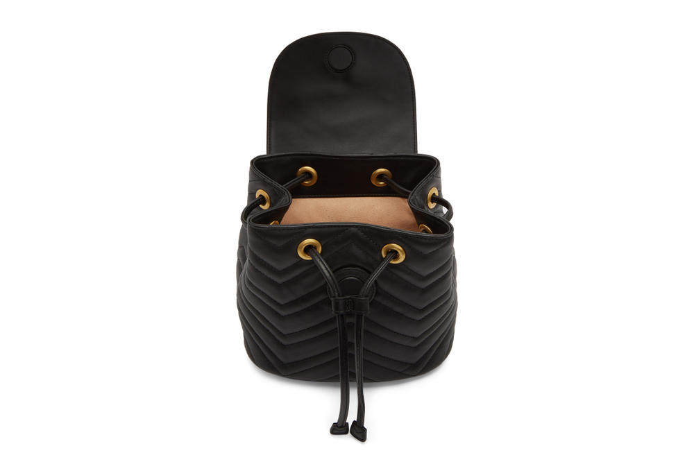 Gucci Marmont 2.0 Backpack in Black and Red Gold Hardware Logo GG Luxury Accessory Leather