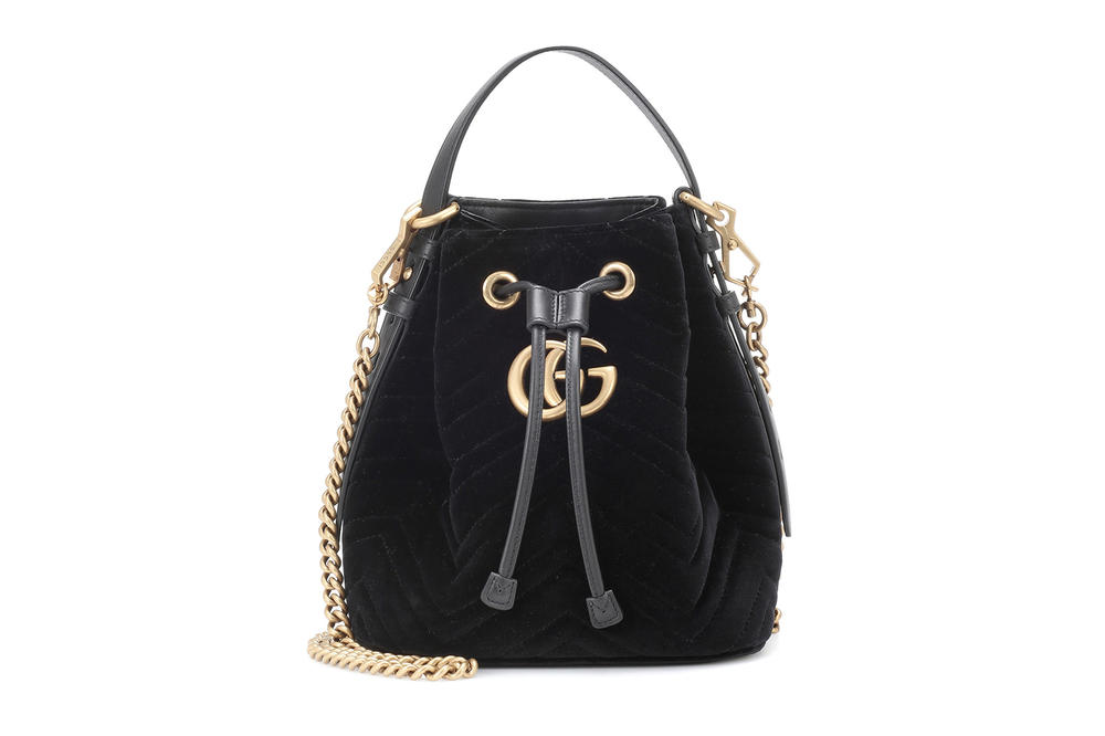 Gucci GG Marmont Quilted Matelassé Bucket Bag Black Velvet