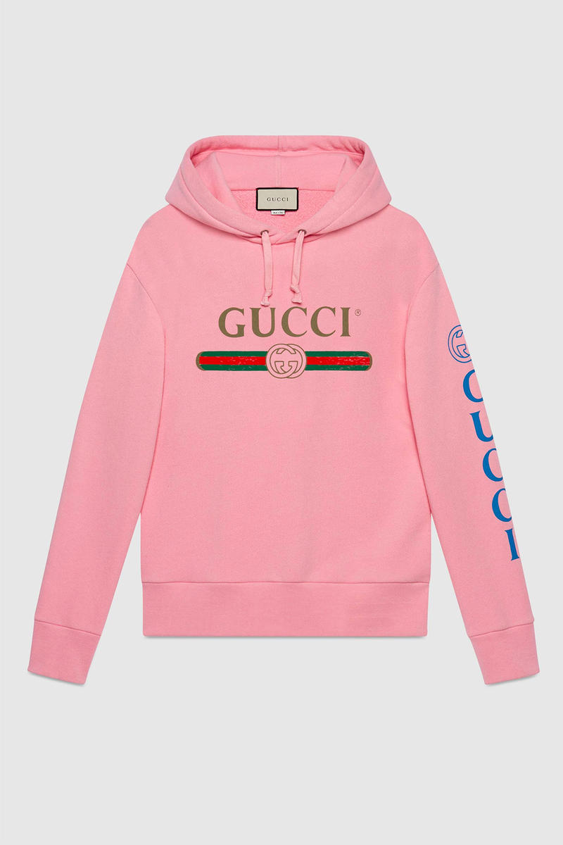 c1b07e2c995 Gucci Vintage Bootleg Logo Hoodie Menswear Pink Dragon Embroidery Sleeve